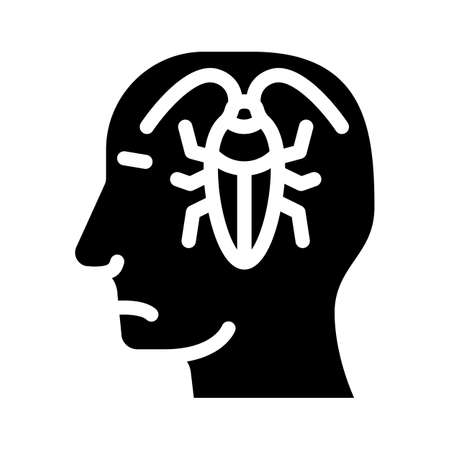 cockroaches in head, neurosis problem glyph icon vector. cockroaches in head, neurosis problem sign. isolated contour symbol black illustration