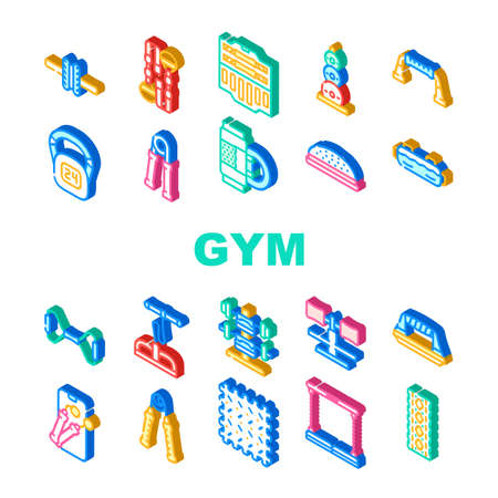 Home Gym Equipment Collection Icons Set Vector. Hand Expander And Massage Roll, Suitcase With Dumbbells Gym Tool, Skipping Rope And Exercise Mat Color Illustrations Ilustración de vector