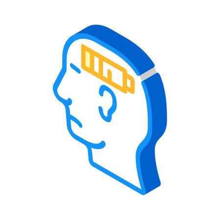 lack of strength neurosis, low battery isometric icon vector. lack of strength neurosis, low battery sign. isolated symbol illustration Vektorgrafik
