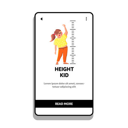 Height Kid Measurement Growth Scale On Wall Vector. Measuring Height Kid Girl In Kindergarten With Drawn Markers. Funny Cheerful Character Preteen Child Web Flat Cartoon Illustration