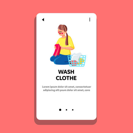 Wash Clothes Preparing Woman At Laundry Vector. Young Girl Sitting On Floor Sorting Washed Clothes And Putting In Basket. Character Lady Housework Occupation Web Flat Cartoon Illustration Ilustración de vector