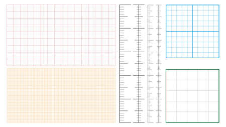 Metric Graph Paper And Corner Ruler Set Vector. Collection Of Measure Paper 1 Mm Millimeter Grid Accented Every Centimeter. Engineer Drafting Technical Project Precise Tool Template Illustrations