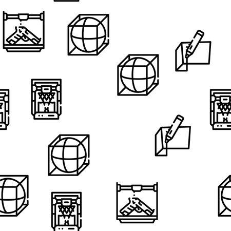 3d Printing Equipment Vector Seamless Pattern Thin Line Illustration 向量圖像