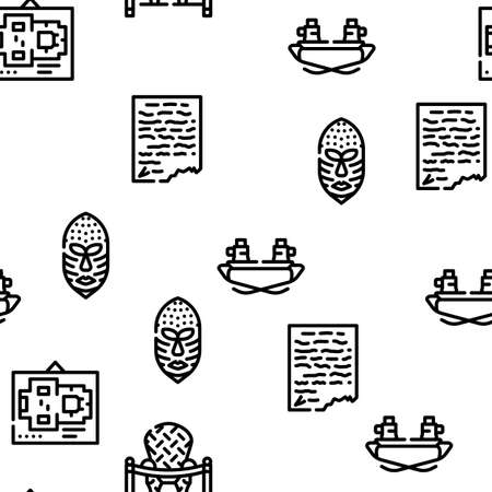 Museum Exhibits And Excursion Vector Seamless Pattern Thin Line Illustration Vecteurs