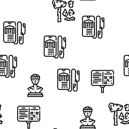 Museum Exhibits And Excursion Vector Seamless Pattern Thin Line Illustration