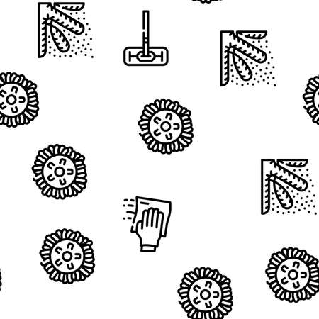 Microfiber For Clean Vector Seamless Pattern Thin Line Illustration 矢量图片