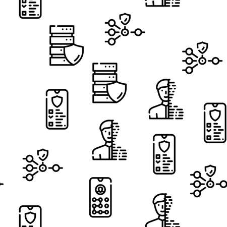 Privacy Policy Protect Vector Seamless Pattern Thin Line Illustration