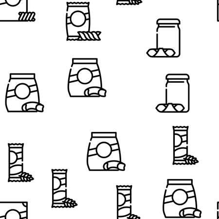 Pasta Food Package Vector Seamless Pattern Thin Line Illustration Vettoriali