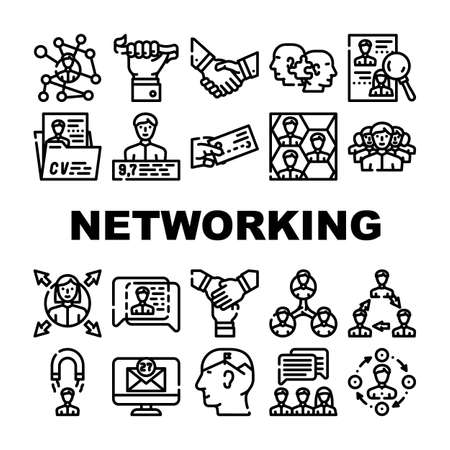 Networking Global Communication Icons Set Vector. People Networking Connection And Discussion, Cards Exchange And Direction Choice, Personal Rating And Team Work Contour Illustrations Vektoros illusztráció
