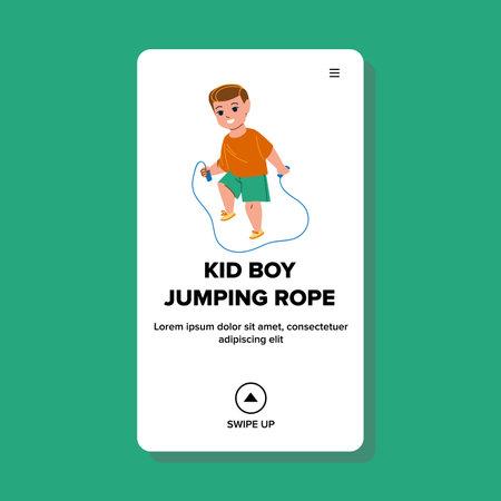 Kid Boy Jumping Rope Exercise On Playground Vector. Little Preschooler Child Jumping Rope. Vektorgrafik