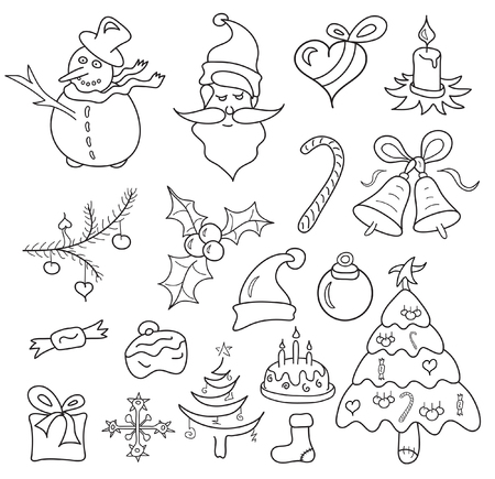 christmas icons sketch isolated on white