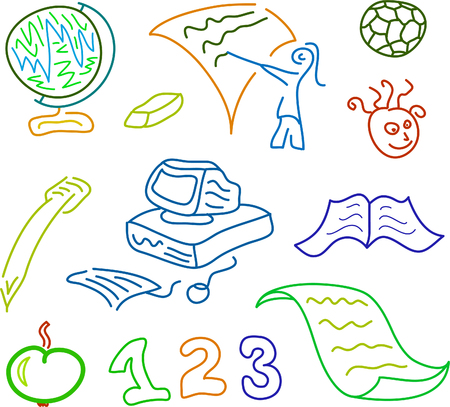 sketch illustration of educational icons Stock Vector - 8119059