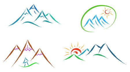 Mountain logo set van pictogrammen geïsoleerd op witte achtergrond