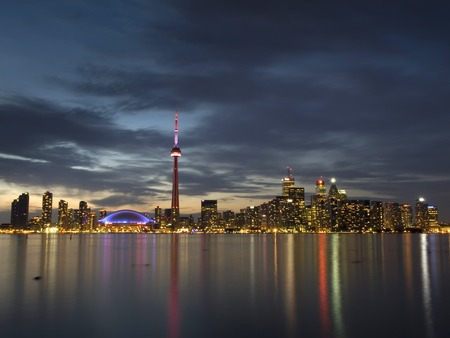 building cn tower: Toronto Cityscape from Center island Stock Photo