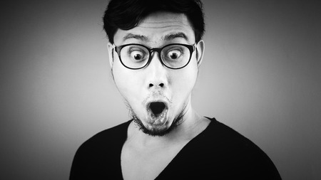 Black and white of Asian man.