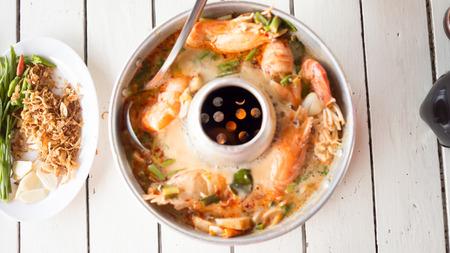 yum: Tom Yum Goong in Hot pot.