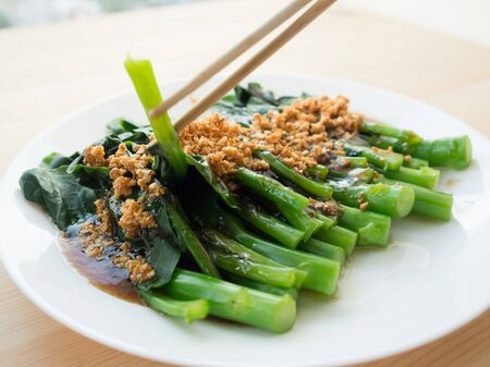 sauce dish: Chinese kale on oyster sauce.