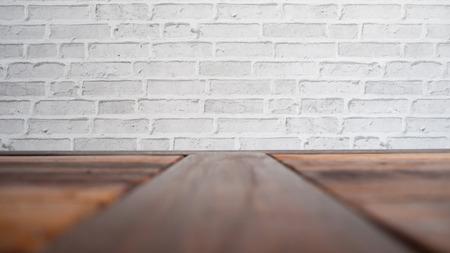 white wood floor: White bricks wall and wood floor. Stock Photo