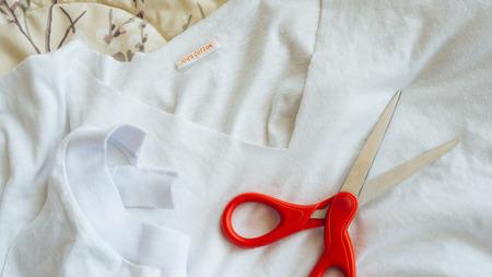 bespoke: Diy tailoring your own t-shirt. Stock Photo
