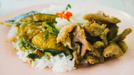 rad: Simple local Thai dish. Khao Rad Kaeng.