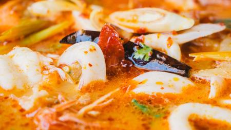 yum: Tom Yum Goong hot pot. Stock Photo
