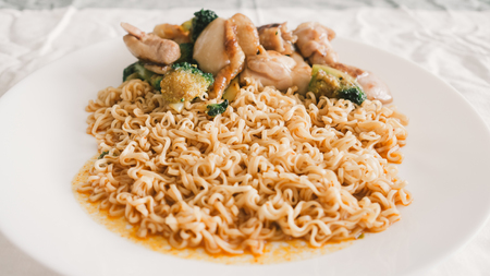 cooked instant noodle: Instant noodles without soup.