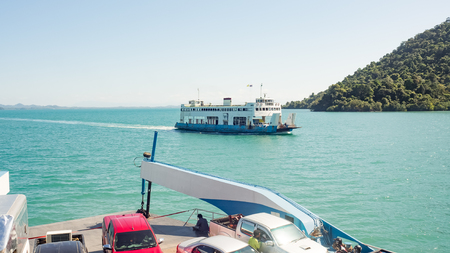 trat: Ferry boat to Koh Chang. Thailand. Stock Photo