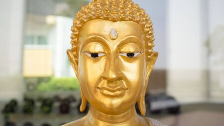 buddha face: Close up of Buddha face. Stock Photo