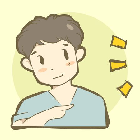 reference: Cute boy is pointing to show something. Digital illustration created without reference image.