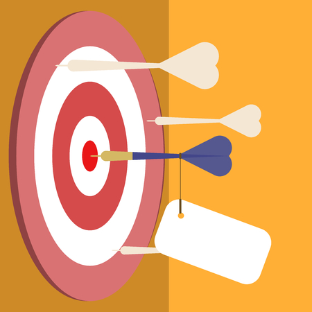 Blue dart on the middle of the target with empty tag. Digital illustration created without reference image. Illustration