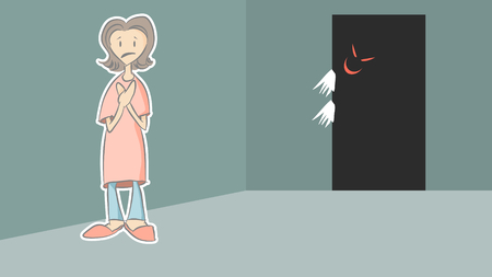 Woman is getting scare of the ghost behind the door. Digital illustration created without reference image.