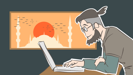 Digital nomad is working in Istanbul. Digital illustration created without reference image.
