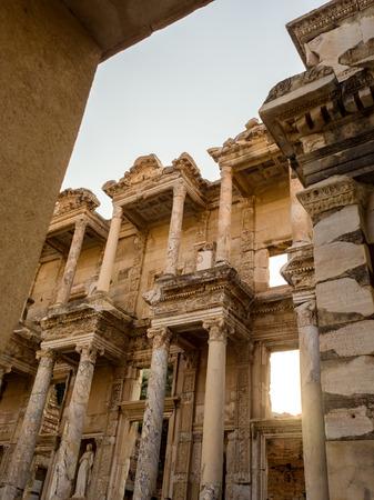corinthian column: SELCUK, IZMIR, TURKEY - SEPTEMBER 13 2016: Ephesus was an ancient Greek city on the coast of Ionia. UNESCO World Heritage Site.