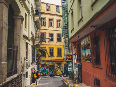 ISTANBUL, TURKEY– SEPTEMBER 10-13 2016: Street and city life of Istanbul.