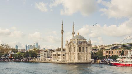 camii: Istanbul, Turkey - September 10, 2016: Ortakoy camii on Bosphorus river of Istanbul.