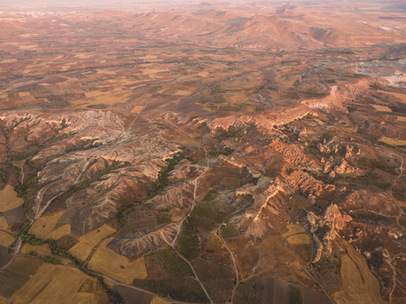 arial view: Arial view of Cappadocia landscape in Turkey. Stock Photo