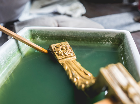 professionally: Bangkok, Thailand - August 30, 2016: Tradition gold cleaning workshop. Editorial