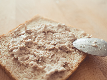 Making Tuna sandwich as simple and fast breakfast.