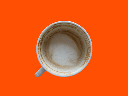 drank: Top view of drank coffee cup on wooden table. Stock Photo