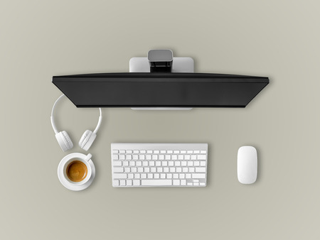 homeoffice: Top view of work desk with coffee headphone keyboard and mouse.