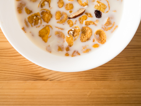 Simple fast and easy breakfast cereal in milk.