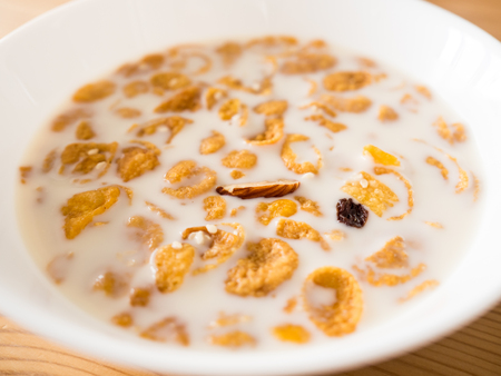 Simple Fast And Easy Breakfast Cereal In Milk Stock Photo