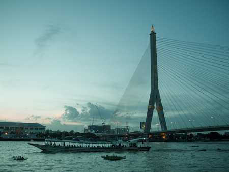 Rama 8 bridge evening landscape on Chao Pra Ya river in Bankgkok Thailand.