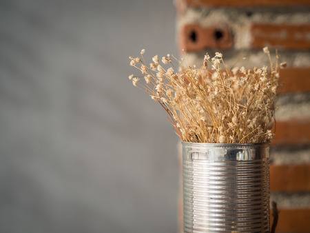 Flowering dried grass in aluminium pot for room decoration.