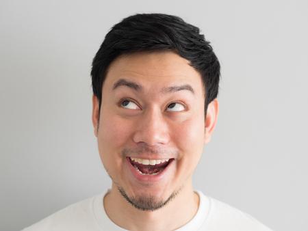 Wow face of Happy Asian man head shot. Stock fotó