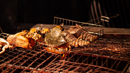 Fresh tropical seafood crabs grilled barbecue for dinner.