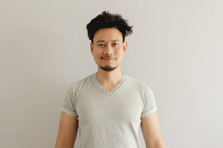 Portrait of Asian man with funny wake up hair style. Stok Fotoğraf - 137857886