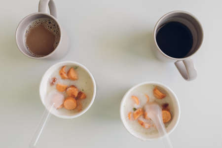 Top view of Instant rice porridge cup as simple fast breakfast.