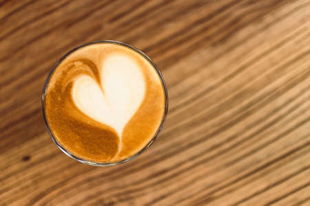 Close up of Latte coffee with heart. Concept of love and valentine.
