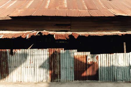 Poor metal sheets house slums in Southeast Asia. Archivio Fotografico